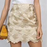 SEXY MINI PENCIL VINTAGE FLOWER EMBROIDERY BOHO STYLE WITH HIGH WAIST SKIRT