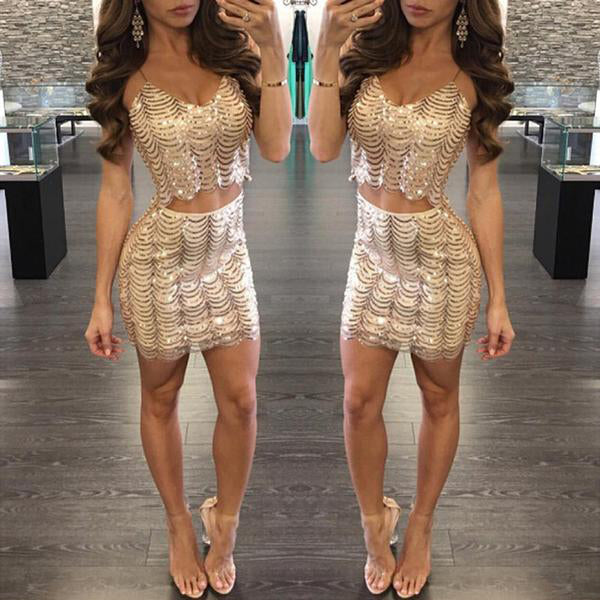 SEXY SHINY SEQUINS PATCHWORK CAMIS TANKS CROP TOP AND MINI SKIRT TWO PIECES SET