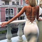 SEXY BODYCONE WITH LACE UP BACKLESS DRESS