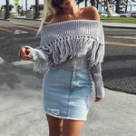 SEXY FRINGE OFF SHOULDER KNITTED TASSEL SWEATER