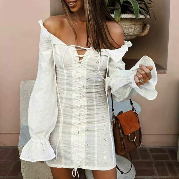 SEXY VINTAGE RUFFLES LACE UP OFF SHOULDER MINI DRESS