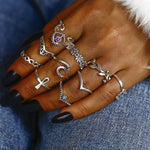 SEXY 10PCS/SET ANTIQUE SILVER CROWN CRYSTAL RHINESTONE HOLLOW FLOWER MIDI KNUCKLE RINGS