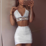 SEXY SILVER DIAMOND WITH CROP TOP AND MINI SKIRT TWO PIECES SET