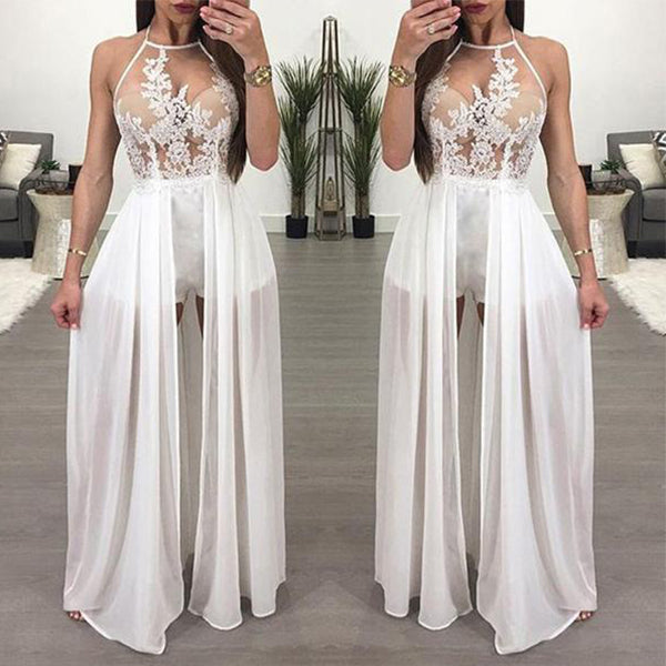 SEXY AND ELEGANT FLORAL EMBROIDERY MAXI SKIRT ROMPER BACKLESS CHIFFON SHORT PLAYSUIT