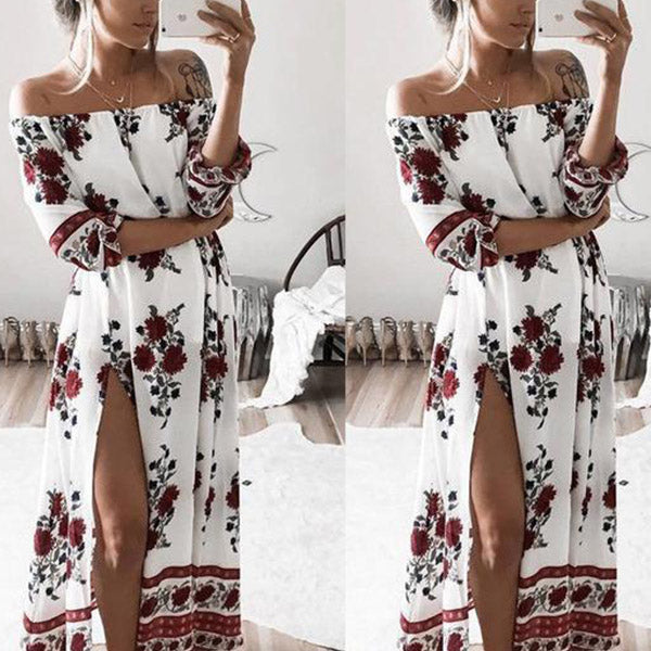 SEXY VINTAGE BOHO FLORAL SPLIT LONG BEACH PARTY DRESS