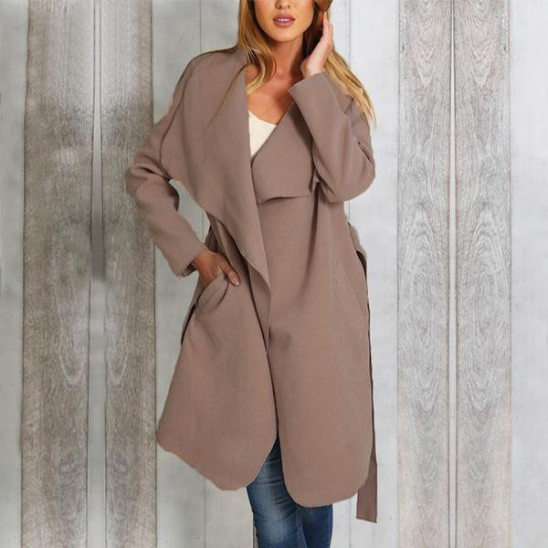 SEXY POCKETS SASH THICK SLIM LONG OVERCOAT