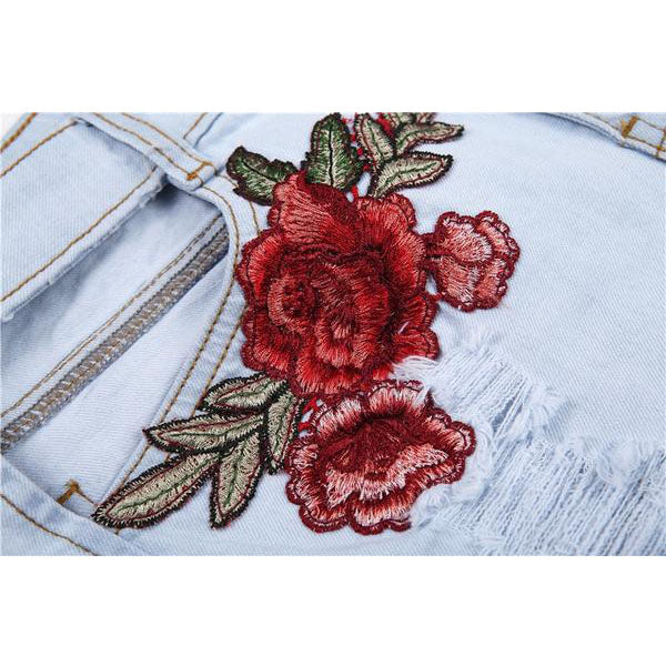 SEXY APPLIQUES ROSE DENIM AND CROSS EMBROIDERY HIGH WAIST  SHORTS