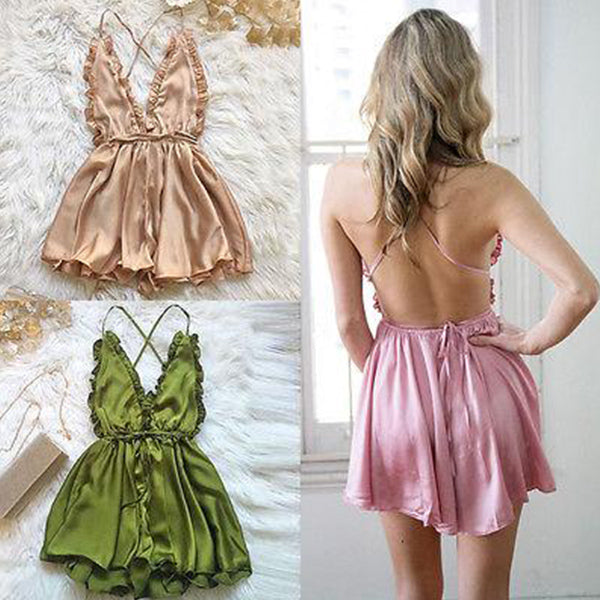 SEXY SILK BACKLESS WITH V NECK DRESS