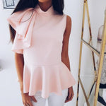 SEXY AND ELEGANT BLOUSE O NECK SLEEVELESS RUFFLES SLIM TOP
