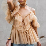 SEXY NUDE STRAP RUFFLES MESH BLOUSE WITH V NECK OFF SHOULDER TOP
