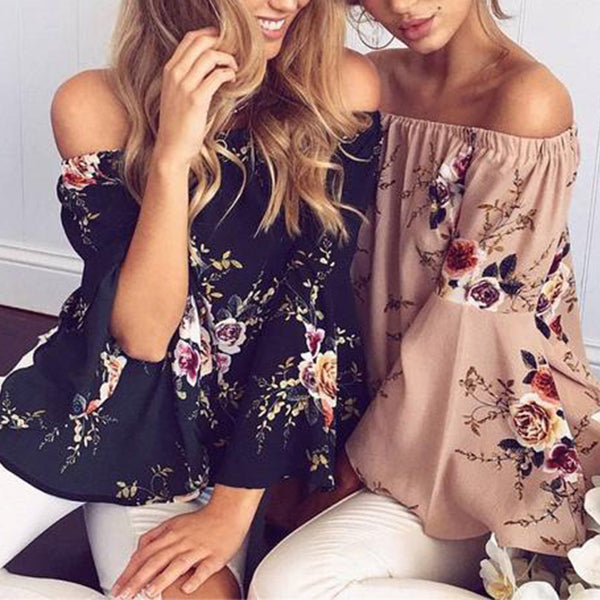 SEXY FLORALS BLOUSE OFF SHOULDER WITH LONG SLEEVE LOOSE TOP