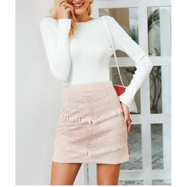 SEXY PENCIL SLIM FIT MINI TASSEL SUEDE LEATHER WITH HIGH WAIST LACE SKIRT