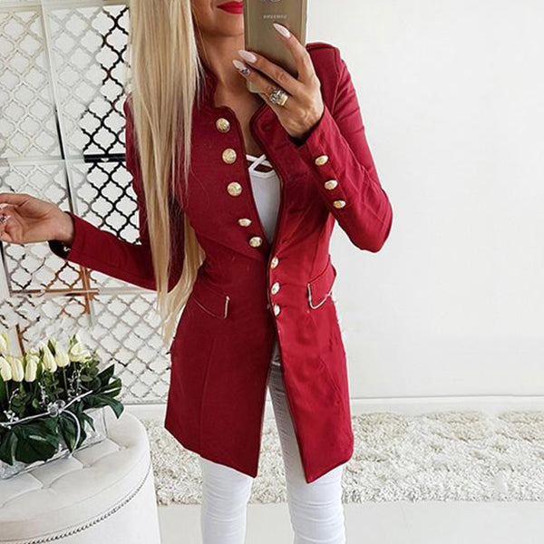 ELEGANT AUTUMN WINTER DOUBLE BREASTED SLIM SUIT WITH V NECK LONG COAT
