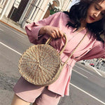 SEXY BROWN STRAW ROUND RETRO RATTAN BOHO STYLE SUMMER BEACH HANDBAG AND SHOULDER BAG