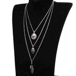 SEXY VINTAGE SILVER MULTILAYER BIJOUX COIN LEAVE PENDANT WITH LONG CHAIN NECKLACES