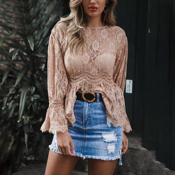 SEXY AND ELEGENT RUFFLE PEPLUM BLOUSE WITH O-NECK FLARE SLEEVE LACE MESH SHIRT