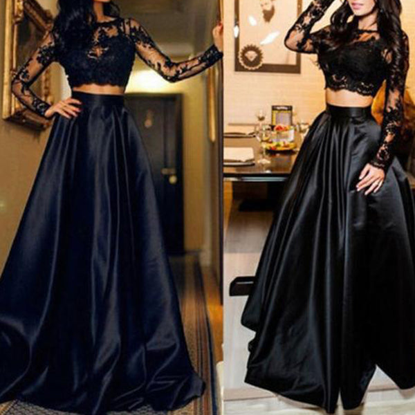 ELEGANT BLACK CHIFFON AND LACE WITH LONG SLEEV LONG DRESS
