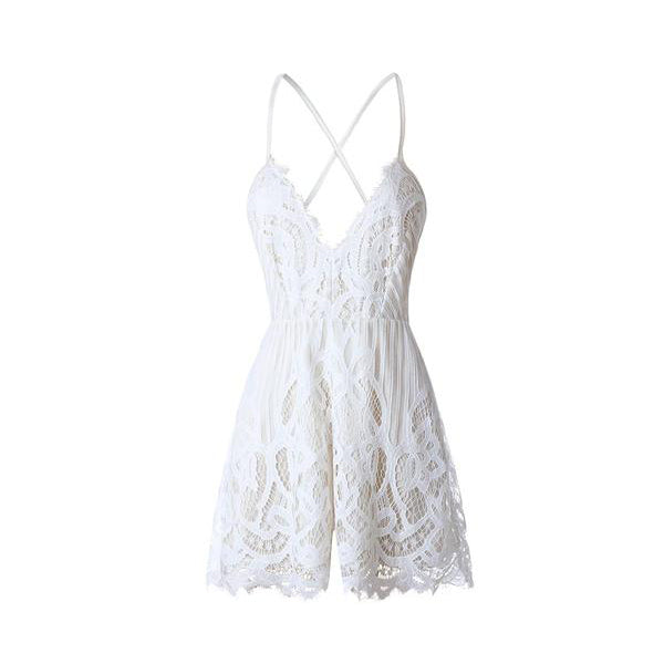 SEXY WHITE LACE WITH STRAP V-NECK PLAYSUIT