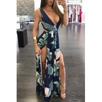 SEXY FLORAL PRINT MAXI WITH SPLIT SLEEVELESS DRESS