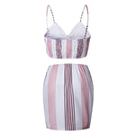 SEXY PINK AND WHITE BEACH PARTY WITH V NECK STRAP TWO PIECES SET