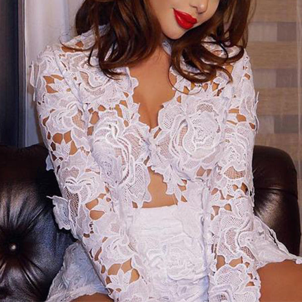 SEXY LACE FLORAL SUITS WITH HOLLOW OUT JACKET AND HIGH WAIST SHORTS TWO PIECES SET
