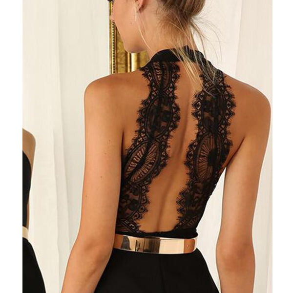 SEXY BLACK SLIM BACKLESS DRESS