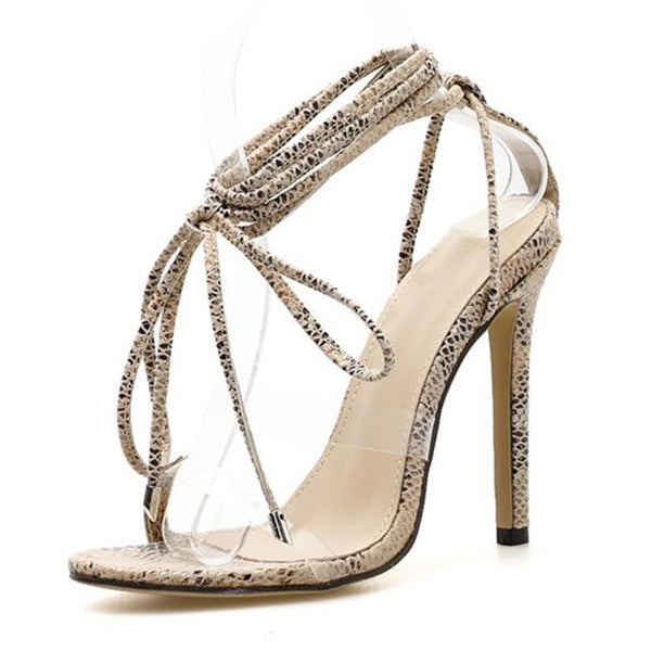 SEXY LACE-UP LEOPARD GRAIN SANDALS WITH CROSS-TIED AND THIN HEELS SHOES