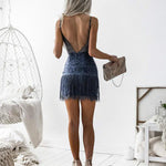 SEXY TASSEL BACKLESS WITH SPAGHETTI STRAPS AND V NECK SLIM FIT MINI DRESS