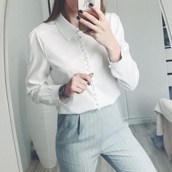 SEXY LONG SLEEVE BLOUSE LAPEL BLOUSE TURN-DOWN COLLAR SHIRT