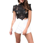 SEXY AND ELEGANT WHITE LACE WITH SHORT SLEEVE HOLLOW OUT SHIRT