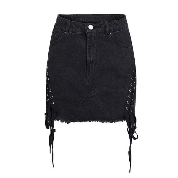 SEXY MINI PENCIL WITH LACE UP DENIM SPLIT AND HIGH WAIST SKIRT