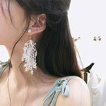 SEXY LACE CRYSTAL WITH LONG TASSEL SIMULATED PEARLS DROP EARRINGS