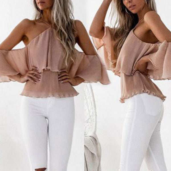 SEXY LOOSE OFF SHOULDER HALTER RUFFLES BLOUSE TOP
