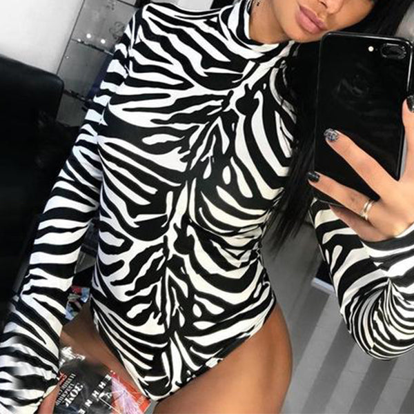 SEXY ZEBRA PRINT WITH TURTLENECK AND LONG SLEEVE BODYSUIT