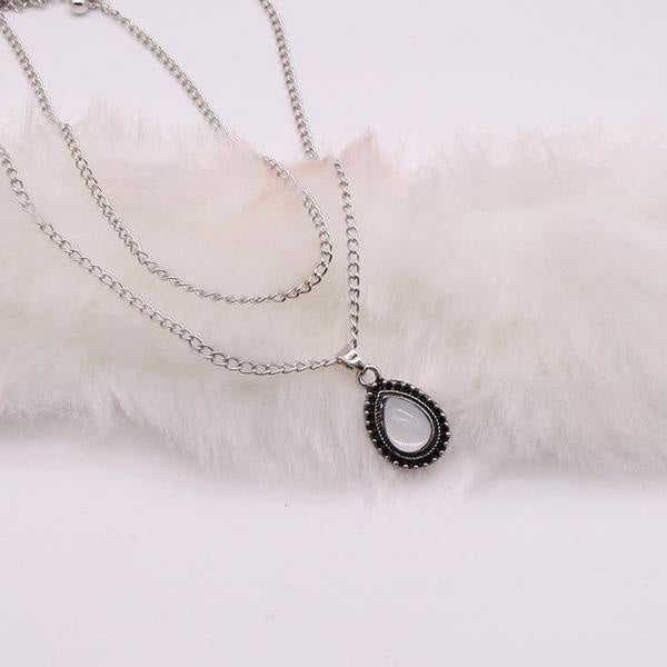 SEXY VINTAGE SILVER STONE DROP PENDANT WITH LONG CHAIN NECKLACES