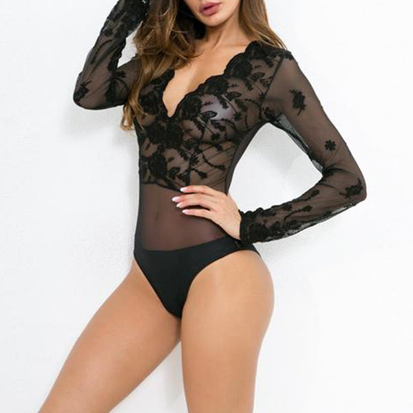SEXY EMBROIDERY FLORAL MESH TRANSPARENT LACE WITH LONG SLEEVE AND DEEP V NECK BODYSUIT
