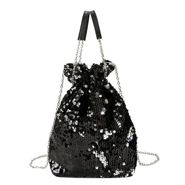 SEXY SEQUINED BUCKET BAG DRAWSTRING HANDBAG AND SHOULDER BAG WITH CHAIN