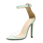 SEXY PVC LIGHT BLUE TRANSPARENT SANDALS WITH COVER HIGH HEEL AND BUCKLE STRAP SHOES