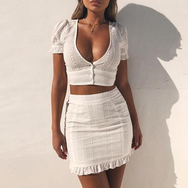 SEXY WHITE RUFFLES LACE WITH DEEP V NECK TWO PIECES SET