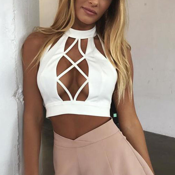SEXY CROP TOPS LACE UP CRISS CROSS SLEEVELESS SLIM PARTY BEACH TANK TOP