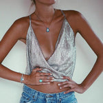 SEXY SILVER BRONZING SLEEVELESS WITH DEEP V NECK TANK TOP