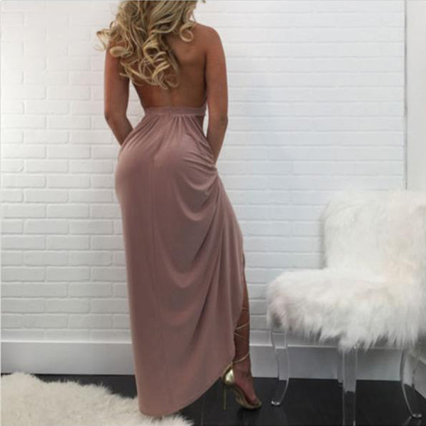 SEXY FRONT HIGH BACKLESS WITH DEEP V NECK SLIT LONG DRESS