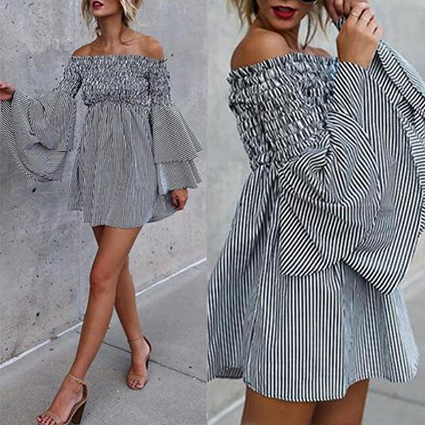 SEXY MINI FLARE SLEEVE WITH OFF-SHOULDER PARTY BEACH DRESS