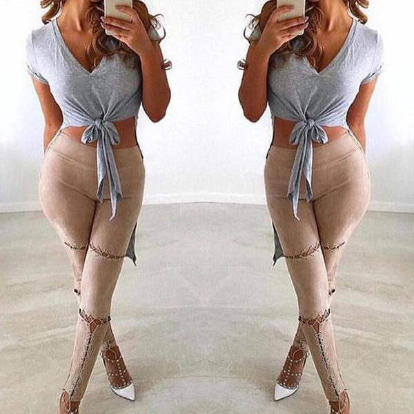 SEXY LACE UP SUEDE LEATHER PENCIL WITH HIGH WAIST AND BANDAGE PANTS