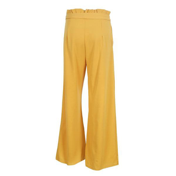 ELEGANT HIGH WAIST AND WIDE LEG WITH BOTTOM SASH RUFFLE LOOSE PANTS