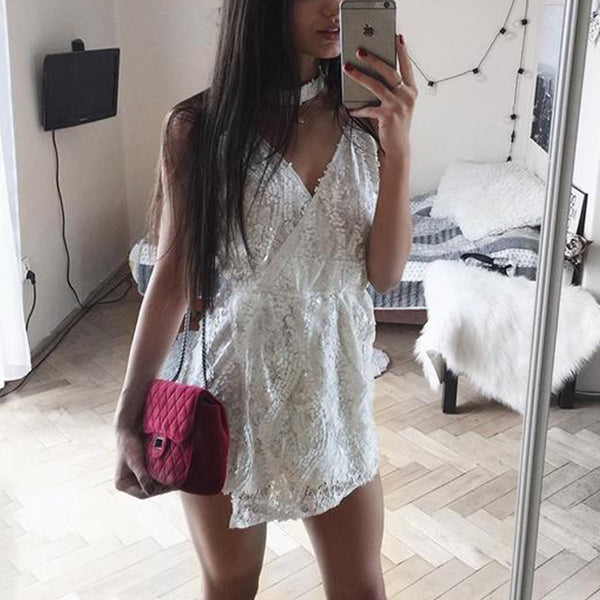 SEXY WHITE HALTER LACE SEQUINED WITH DEEP V-NECK PLAYSUIT