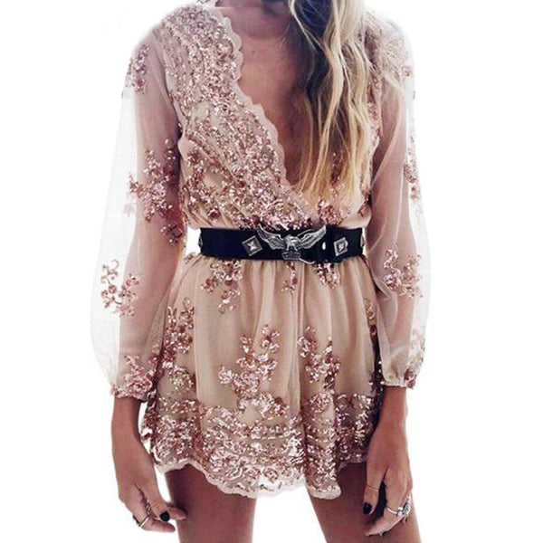 SEXY AND ELEGANT SEQUIN TASSEL SHORT MESH WITH DEEP V NECK PLAYSUIT