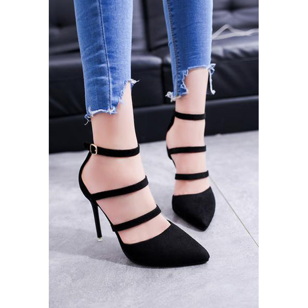 SEXY HIGH HEELED SHALLOW MOUTH BUCKLE WITH SUEDE STRAPS SHOES