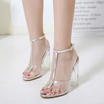 SEXY TRANSPARENT PVC JELLY SANDALS CRYSTAL LEOPARD WITH OPEN TOED AND HIGH HEELS SHOES