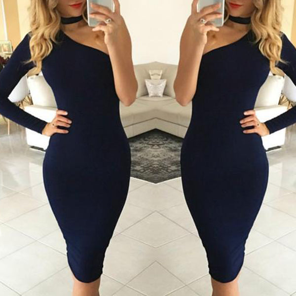 SEXY BODYCON ONE SHOULDER HALTER WITH LONG SLEEVE PENCIL DRESS